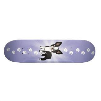Cartoon Boston Terrier Skateboard Deck