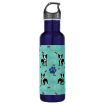 Cartoon Boston Terrier Stainless Steel Water Bottle