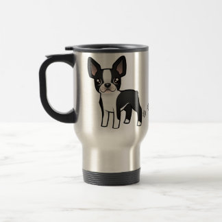Cartoon Boston Terrier Travel Mug