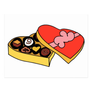 Cartoon Box of Chocolates Postcards