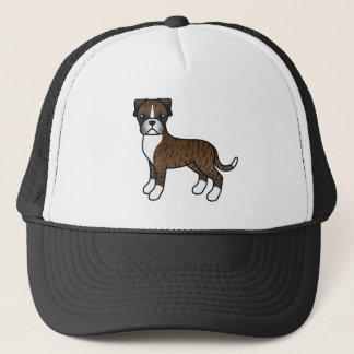 Cartoon Boxer Dog In Brindle Coat Trucker Hat