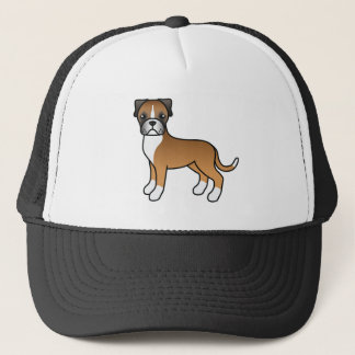 Cartoon Boxer Dog In Fawn Coat Trucker Hat