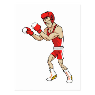 cartoon boxer postcard