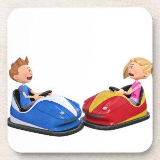 Cartoon boy and girl in Bumper Cars Coaster