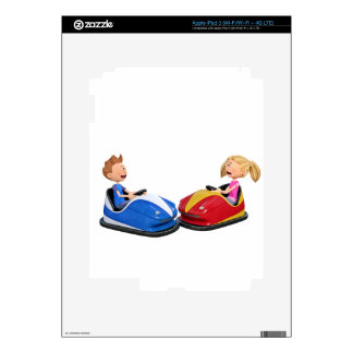 Cartoon boy and girl in Bumper Cars Decal For iPad 3