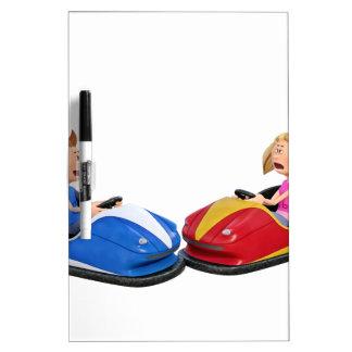 Cartoon boy and girl in Bumper Cars Dry-Erase Board