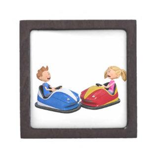 Cartoon boy and girl in Bumper Cars Gift Box