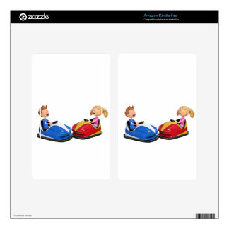 Cartoon boy and girl in Bumper Cars Kindle Fire Skin