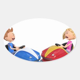 Cartoon boy and girl in Bumper Cars Oval Sticker