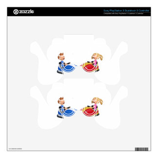 Cartoon boy and girl in Bumper Cars PS3 Controller Decal
