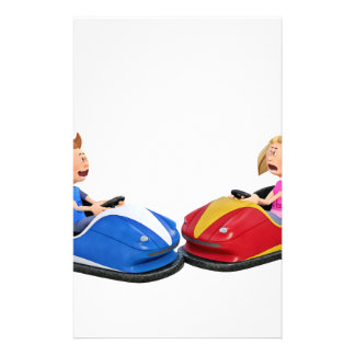 Cartoon boy and girl in Bumper Cars Stationery
