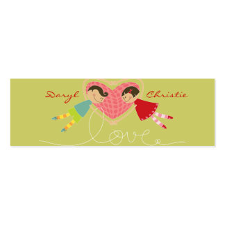 Cartoon Boy and Girl in Love Gift Tag / Thank You Mini Business Card