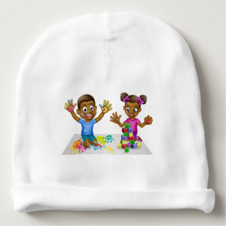 Cartoon Boy and Girl with Paint and Blocks Baby Beanie