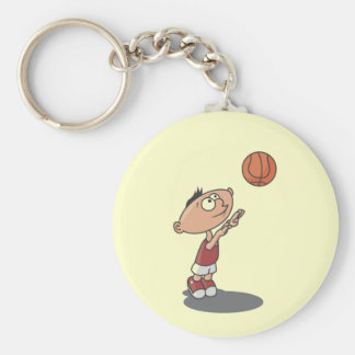 Cartoon Boy Basketball Player T-shirts and Gifts Basic Round Button Keychain