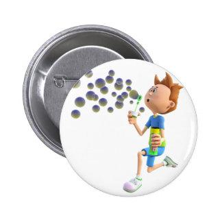 Cartoon boy blowing bubbles button