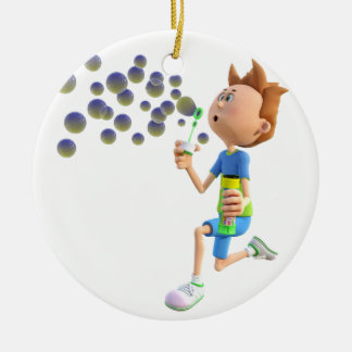Cartoon boy blowing bubbles ceramic ornament