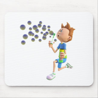 Cartoon boy blowing bubbles mouse pad