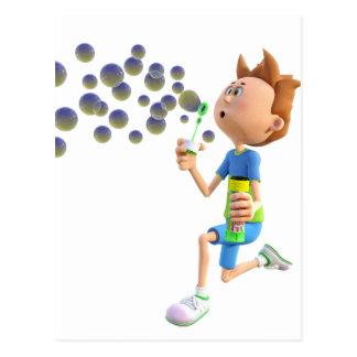 Cartoon boy blowing bubbles postcard