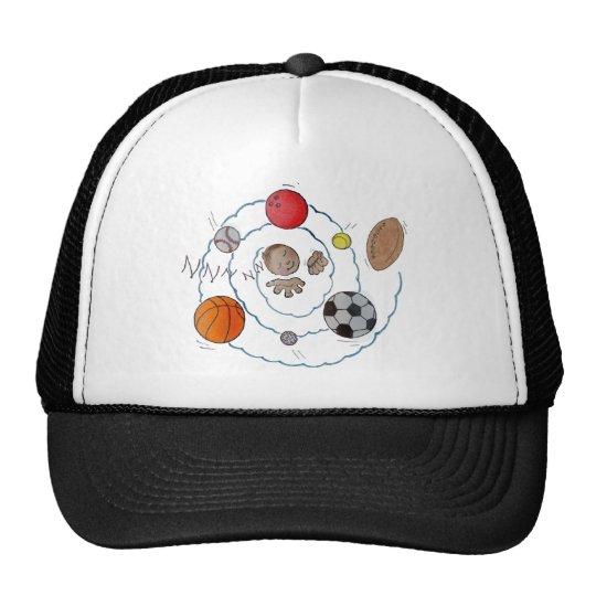 Cartoon boy dreaming of sport's balls trucker hat