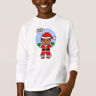 Cartoon Boy Dressed as Santa Claus T-Shirt