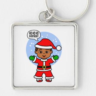 Cartoon Boy Dressed Like Santa Claus Keychain