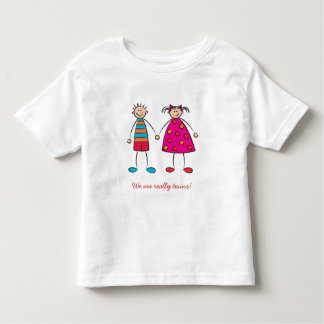 Cartoon Boy + Girl Cute Twins Fun Custom T-shirt