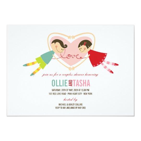 Cartoon Boy Girl Love Heart Couples Wedding Shower Card