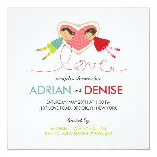 Cartoon Boy Girl Love Heart Couples Wedding Shower Custom Announcements