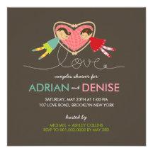 Cartoon Boy Girl Love Heart Couples Wedding Shower Custom Invite
