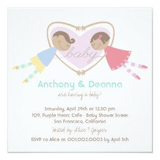 Cartoon Boy Girl Purple Heart Couples Baby Shower Card