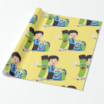 Cartoon Boy Goes to School Wrapping Paper