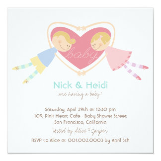 Cartoon Boy Hearts Girl Love Couples Baby Shower Card