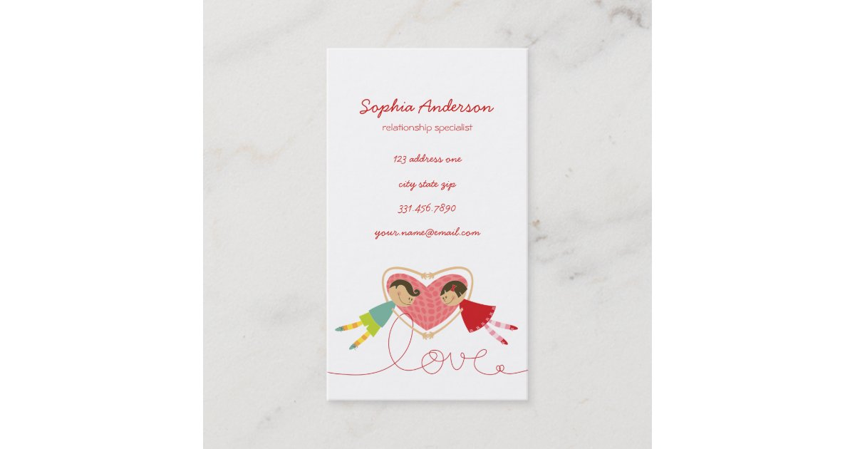 Cartoon Boy Hearts Girl Love Cute Profile Card Zazzle Com