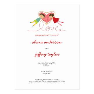 Cartoon Boy Hearts Girl Love Invitation Postcard