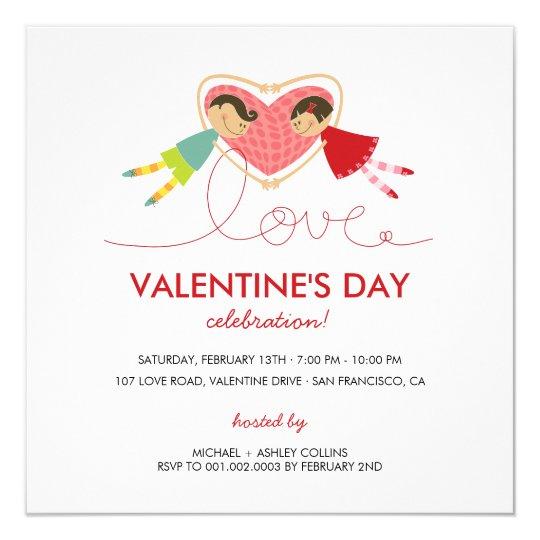 Cartoon Boy Hearts Girl Love Valentine Party Card