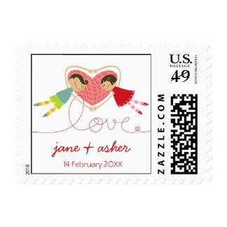 Cartoon Boy Hearts Girl Valentine Fun Gift Postage