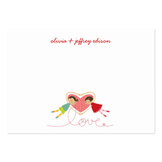 Cartoon Boy Hearts Girl Valentine Place Table Card Business Card Template