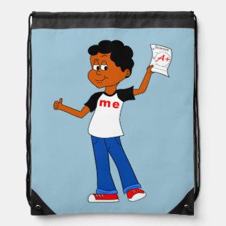 Cartoon Boy holding A+ Paper Drawstring Backpack