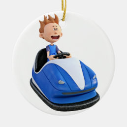 Cartoon boy in a bumper car ceramic ornament