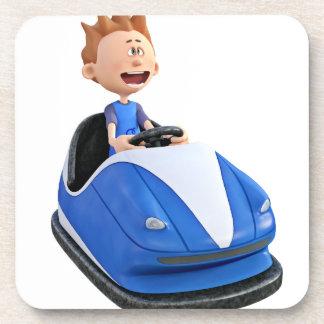 Cartoon boy in a bumper car coaster