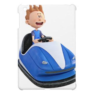 Cartoon boy in a bumper car iPad mini case