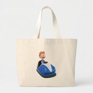 Cartoon boy in a bumper car large tote bag