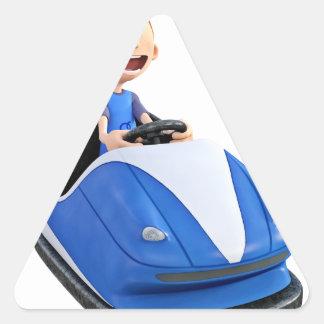 Cartoon boy in a bumper car triangle sticker