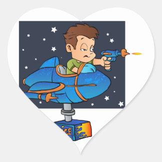 Cartoon Boy in imaginary Rocket Heart Sticker