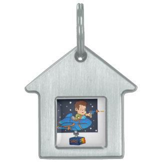 Cartoon Boy in imaginary Rocket Pet ID Tag