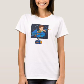 Cartoon Boy in imaginary Rocket T-Shirt