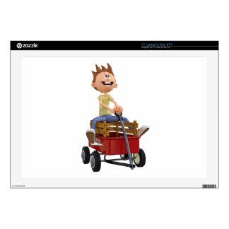 "Cartoon Boy in Wagon 17"" Laptop Skins"