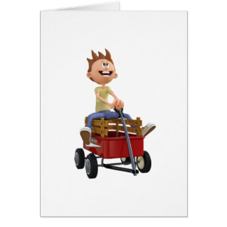 Cartoon Boy in Wagon Card