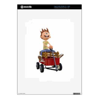 Cartoon Boy in Wagon iPad 2 Decal