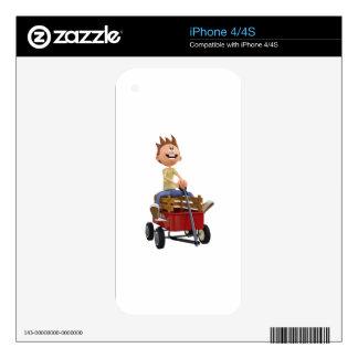 Cartoon Boy in Wagon iPhone 4S Decal
